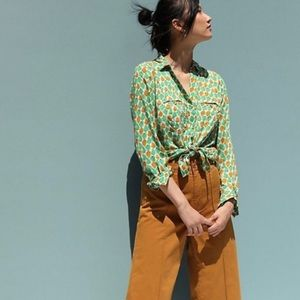 Anthropologie Colloquial Button Down In Pear